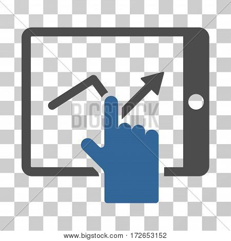 Tap Trend On PDA icon. Vector illustration style is flat iconic bicolor symbol cobalt and gray colors transparent background. Designed for web and software interfaces.