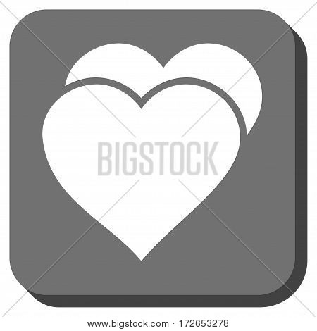 Love Hearts toolbar button. Vector pictogram style is a flat symbol in a rounded square button white and gray colors.