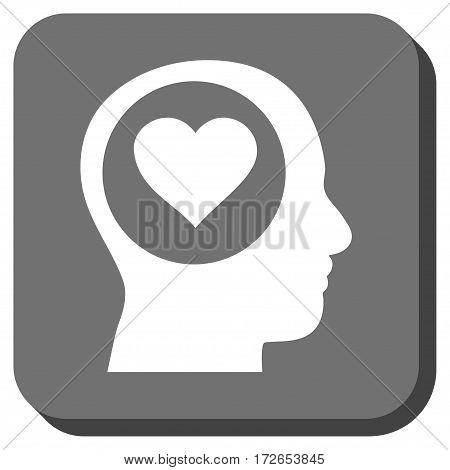 Love Thinking Head interface toolbar button. Vector pictogram style is a flat symbol on a rounded square button white and gray colors.