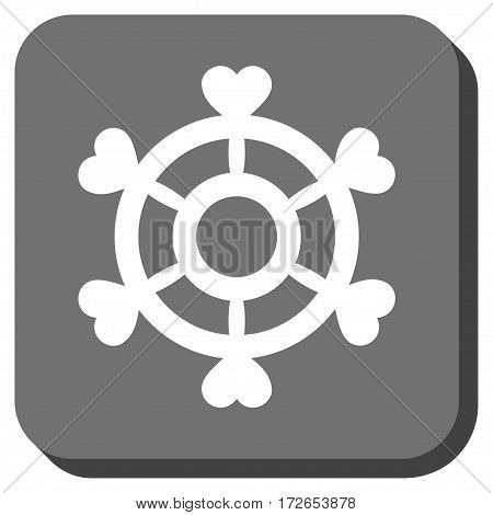 Lovely Boat Steering Wheel rounded button. Vector pictogram style is a flat symbol on a rounded square button white and gray colors.