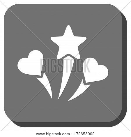 Lovely Fireworks toolbar button. Vector pictograph style is a flat symbol inside a rounded square button white and gray colors.