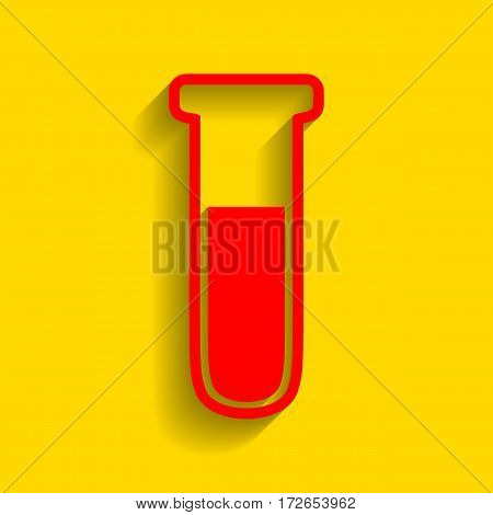 Medical Tube icon. Laboratory glass sign. Vector. Red icon with soft shadow on golden background.