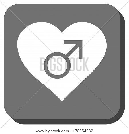 Male Love Heart toolbar button. Vector pictogram style is a flat symbol in a rounded square button white and gray colors.