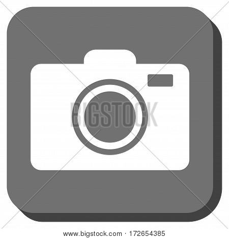 Photo Camera interface toolbar button. Vector pictograph style is a flat symbol centered in a rounded square button white and gray colors.