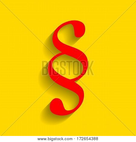 Paragraph sign illustration. Vector. Red icon with soft shadow on golden background.