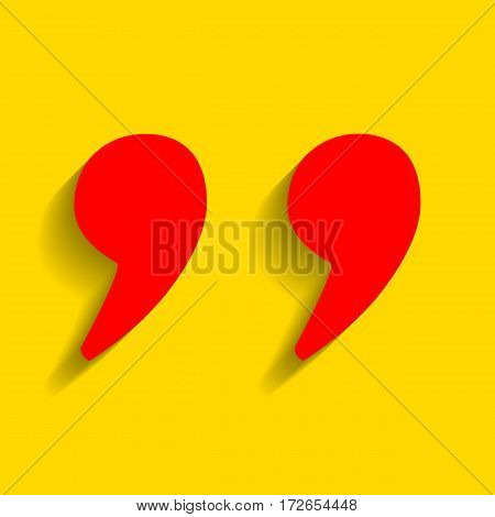 Quote sign illustration. Vector. Red icon with soft shadow on golden background.