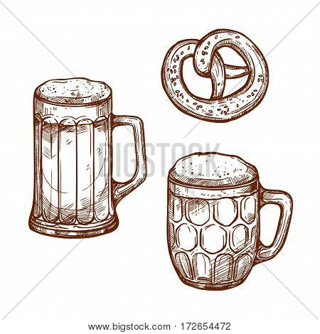 Beer glass mugs and snack pretzel bread vector sketch . Sketched frothy or foamy ale or lager and draught beer pint in mug or barrel with salted bagel for beer bar and brewpub or pub