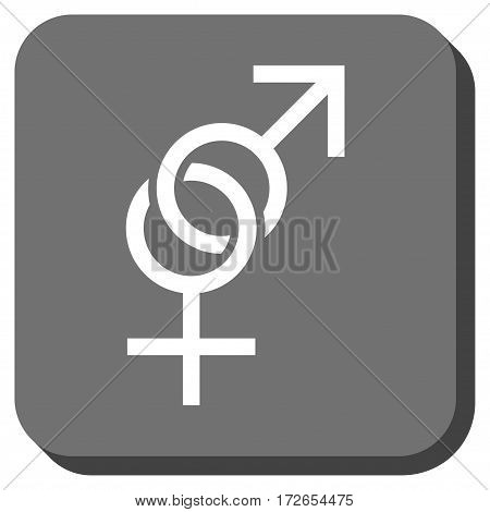 Sex Symbol toolbar button. Vector pictograph style is a flat symbol in a rounded square button white and gray colors.