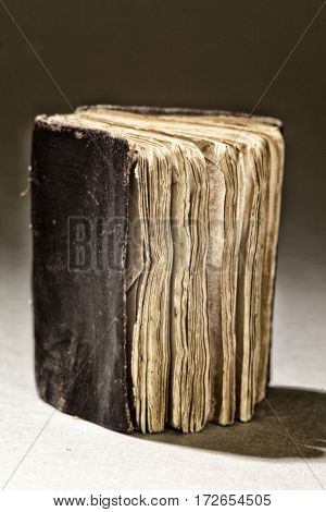Old Frayed Antique Book Selective Focus Close Up