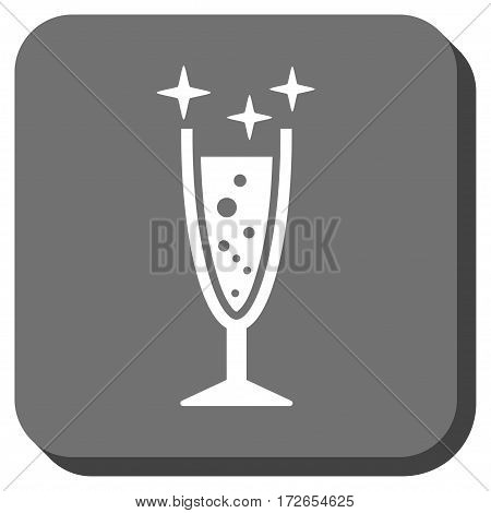 Sparkle Wine Glass toolbar button. Vector pictogram style is a flat symbol inside a rounded square button white and gray colors.