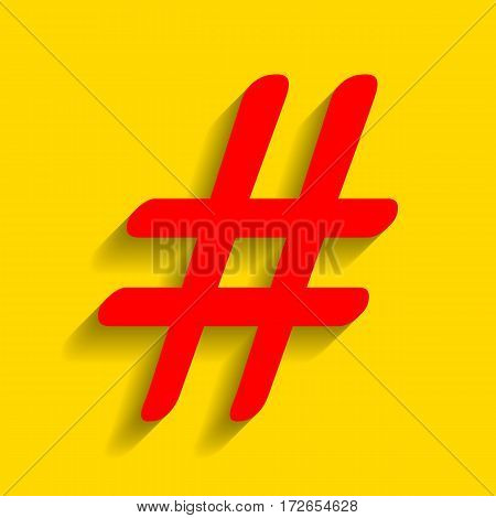 Hashtag sign illustration. Vector. Red icon with soft shadow on golden background.