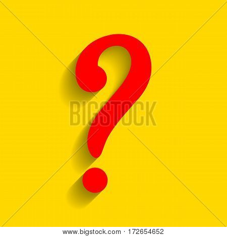 Question mark sign. Vector. Red icon with soft shadow on golden background.