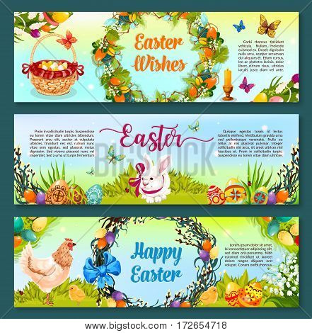 Easter egg hunt cartoon banner. Painted Easter egg with rabbit bunny and chicken on green grass, spring flowers and willow tree branch wreath, adorned by colorful eggs, ribbon bow and butterflies