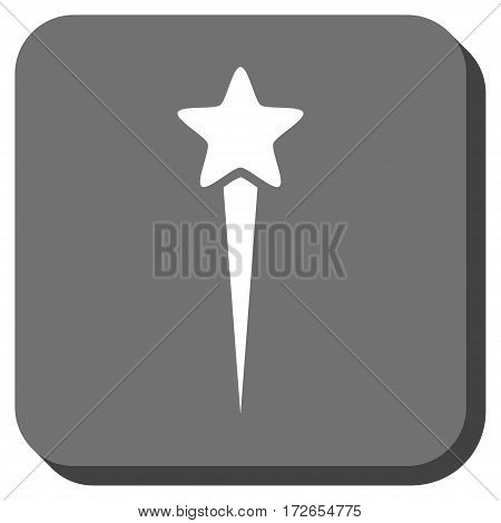 Starting Star interface icon. Vector pictograph style is a flat symbol inside a rounded square button white and gray colors.