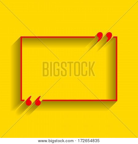 Text quote sign. Vector. Red icon with soft shadow on golden background.