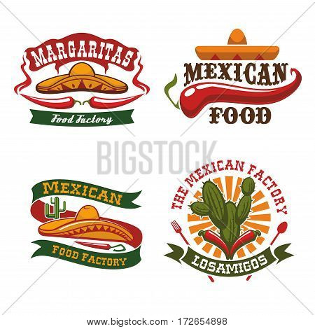 Mexican cuisine vector icons of sombrero hat, chili pepper jalapeno and agave cactus symbols for Mexico fast food snacks of burrito, tacos or tortillas, nachos and tequila bar or restaurant snacks