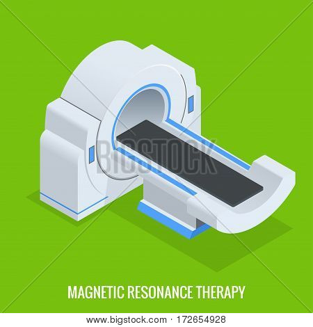 MRT machine for magnetic resonance imaging in radiology in a hospital. Computerized Tomography, xray with multiple slice detectors. The system produces detailed cross-sectional and 3D images