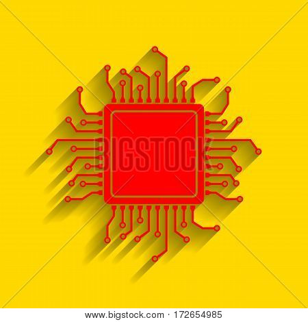 CPU Microprocessor illustration. Vector. Red icon with soft shadow on golden background.