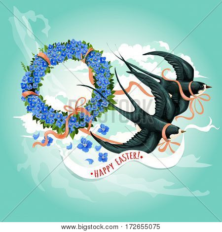 Easter spring birds with Happy Easter banner in beak. Soaring swallow birds with floral wreath of blue flowers and green leaves, tied by ribbon with bow. Easter greeting card or festive poster design