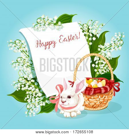 Easter rabbit greeting card with copy space. White bunny with decorated Easter eggs in basket, lily of the valley flowers and blank paper for your wishes. Happy Easter Day festive poster design
