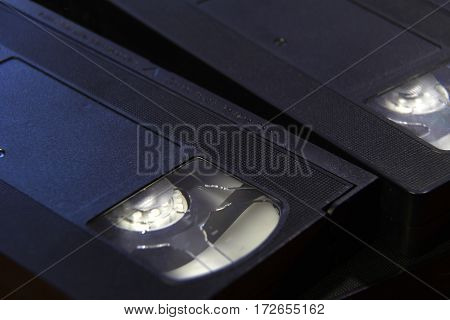 Stack Of Black Vhs Tape Video Cassettes Close Up