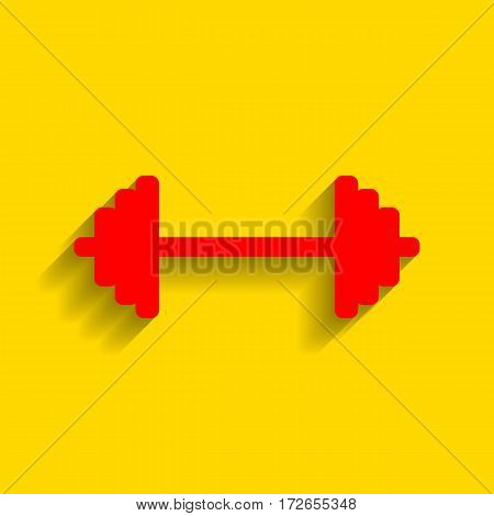 Dumbbell weights sign. Vector. Red icon with soft shadow on golden background.