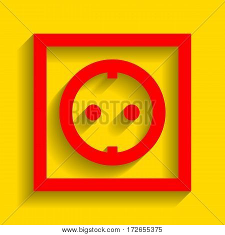 Electrical socket sign. Vector. Red icon with soft shadow on golden background.