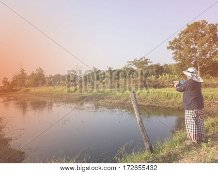 An angler was fishing in early morning