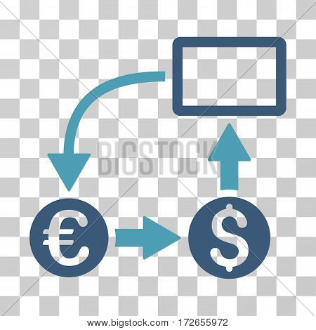 Cashflow Euro Exchange icon. Vector illustration style is flat iconic bicolor symbol cyan and blue colors transparent background. Designed for web and software interfaces.
