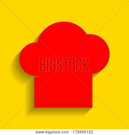 Chef cap sign. Vector. Red icon with soft shadow on golden background.