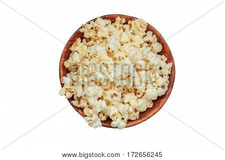Salt Popcorn On A The Wooden Table.