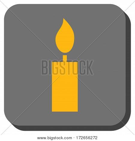 Candle toolbar button. Vector pictograph style is a flat symbol in a rounded square button yellow and gray colors.