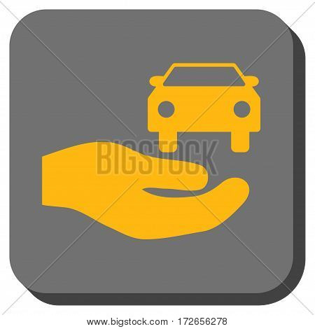 Car Gift Hand rounded button. Vector pictogram style is a flat symbol in a rounded square button yellow and gray colors.