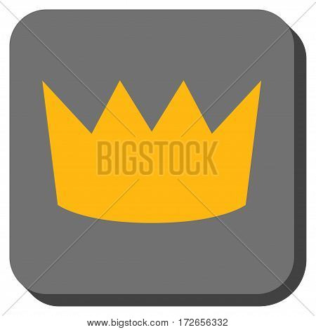 Crown interface toolbar icon. Vector pictogram style is a flat symbol inside a rounded square button yellow and gray colors.