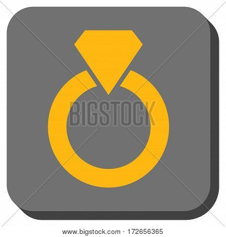 Diamond Ring interface button. Vector pictograph style is a flat symbol centered in a rounded square button yellow and gray colors.