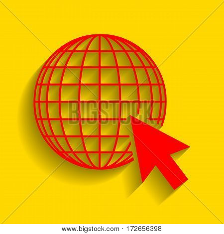 Earth Globe with cursor. Vector. Red icon with soft shadow on golden background.