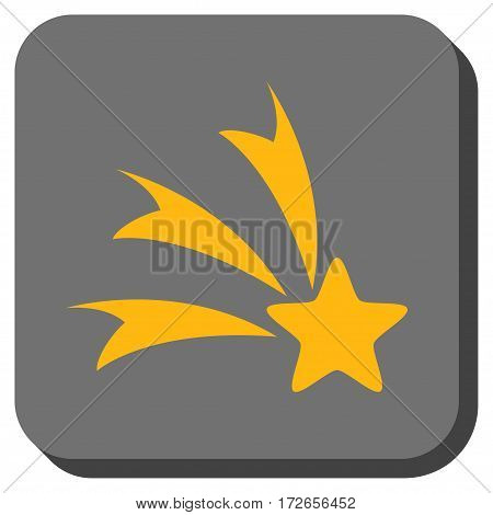Falling Star toolbar icon. Vector pictograph style is a flat symbol in a rounded square button yellow and gray colors.