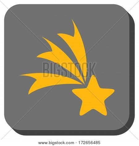 Falling Star square button. Vector pictograph style is a flat symbol inside a rounded square button yellow and gray colors.