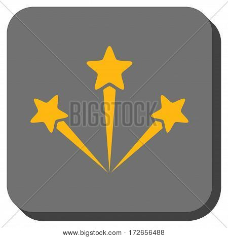 Festive Fireworks interface icon. Vector pictograph style is a flat symbol in a rounded square button yellow and gray colors.