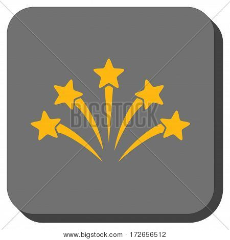 Fireworks Burst toolbar icon. Vector pictograph style is a flat symbol inside a rounded square button yellow and gray colors.