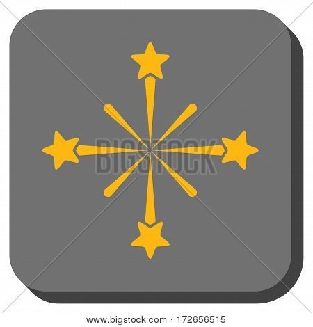 Fireworks rounded button. Vector pictograph style is a flat symbol on a rounded square button yellow and gray colors.