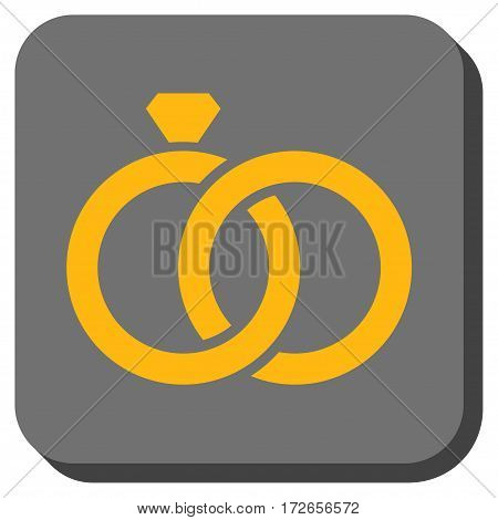 Gem Rings toolbar button. Vector pictogram style is a flat symbol centered in a rounded square button yellow and gray colors.