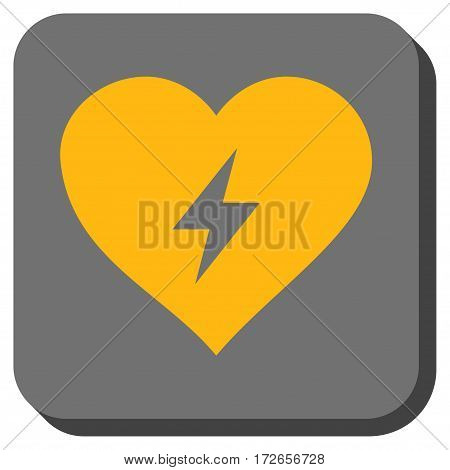 Heart Power interface icon. Vector pictogram style is a flat symbol on a rounded square button yellow and gray colors.