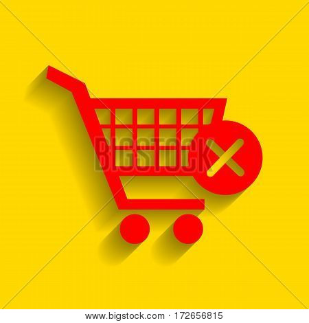 Shopping Cart with delete sign. Vector. Red icon with soft shadow on golden background.