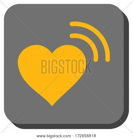 Heart Radio Signal interface icon. Vector pictograph style is a flat symbol in a rounded square button yellow and gray colors.