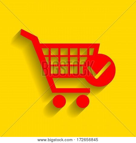 Shopping Cart with Check Mark sign. Vector. Red icon with soft shadow on golden background.