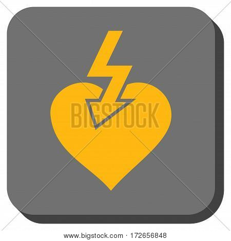 Heart Shock Strike interface toolbar icon. Vector pictogram style is a flat symbol inside a rounded square button yellow and gray colors.
