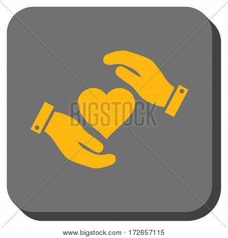 Love Heart Care Hands interface icon. Vector pictogram style is a flat symbol inside a rounded square button yellow and gray colors.