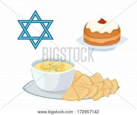 Hummus jewish food pie appetizer mashed chickpeas with tahin traditional meal cuisine parsley matzah and vegetarian delicious lunch soup vector illustration. Holiday homemade matzo.
