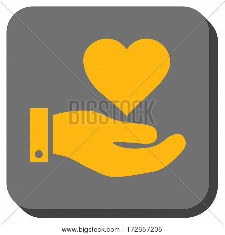 Love Heart Offer Hand interface icon. Vector pictograph style is a flat symbol on a rounded square button yellow and gray colors.